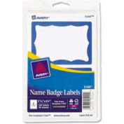 "Avery® Name Badge Labels, 2-11/32"" x 3-3/8"", Blue Border, 100 Labels/Pack"