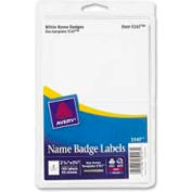 "Avery® Name Badge Labels, 2-11/32"" x 3-3/8"", White, 100 Labels/Pack"