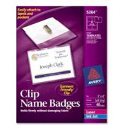 "Avery® Clip Style Name Badges, 3"" x 4"", Clear, 40/Box"
