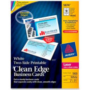 """Avery® Two-Side Printable Business Card, 2"""" x 3-1/2"""", White, 1000 Cards/Pack"""