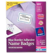"Avery® Adhesive Name Badge Labels, 2-1/3"" x 3-3/8"", Blue Border, 400/Box"
