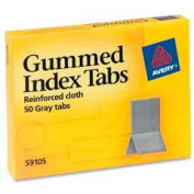 """Avery® Gummed Index Tabs, 7/16"""" x 1-3/16"""", Gray, 50 Tabs/Pack"""