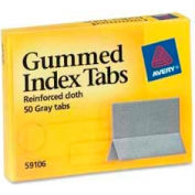 "Avery® Gummed Index Tabs, 1"" x 1-3/16"", Gray, 50 Tabs/Pack"