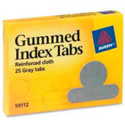"Avery® Gummed Index Tabs, 1/2"" Tab Extension, Gray, 25 Tabs/Pack"