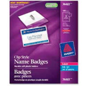 "Avery® Clip Style Name Badges, 2-1/4"" x 3-1/2"", Clear, 100/Box"