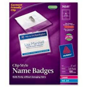 "Avery® Clip Style Name Badges, 3"" x 4"", Clear, 100/Box"