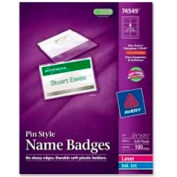 "Avery® Pin Style Name Badges, 2-1/4"" x 3-1/2"", Clear, 100/Box"