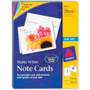 "Avery® Inkjet Matte Coated Note Card, 5-1/2"" x 4-1/4"", Matte, White, 60 Cards/Box"