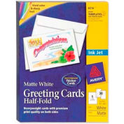"""Avery® Half-Fold Greeting Card with Envelope, 8-1/2"""" x 5-1/2"""", Matte, White, 30 Sheets/Pack"""
