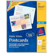 "Avery® Inkjet Post Card, 5-1/2"" x 4-1/4"", Matte, White, 200 Cards/Pack"
