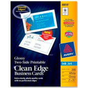 """Avery® Two-Side Printable Inkjet Business Card, 2"""" x 3-1/2"""", Glossy, White, 200 Cards/Pack"""