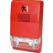 """Edwards Signaling, EG1RT-FIRE, Genesis Trim Plate For Two-Gang Or 4"""" Square Boxes, Red, Marked Fire"""