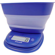 Digital Portion Scale 11lb x 0.1oz/5000g x 1g With Collapsible 1.5 Qt Bowl Frost Blue