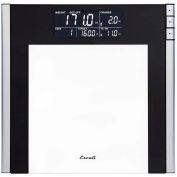 Escali USTT200 Digital Bathroom Scale w/ Extra Large Display, 440lb x 0.2lb/200kg x 0.1kg, Clear