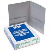Twin Pocket Leatherette-Grained Portfolios, Gray, 25/Box