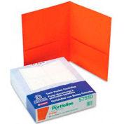 Twin Pocket Leatherette-Grained Portfolios, Orange, 25/Box