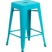 Flash Furniture 24'' Backless Counter-Height Stool - Metal - Square - Crystal Teal Blue