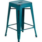 Flash Furniture 24'' Backless Counter-Height Stool - Metal - Square - Distressed Kelly Blue
