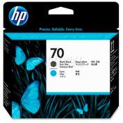 HP® 70 Printhead C9404A, Matte Black and Cyan