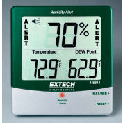 Extech 445814 Hygro-Thermometer Humidity Alert W/Dew Point, Grey/White, Wall Mount, AAA battery