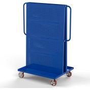 """Valley Craft Modular A-Frame Bin Cart F89550 w/2 Round-Peg Pegboard Panels 36""""W x 30""""D x 62""""H, Blue"""