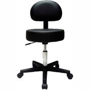 "Pneumatic Mobile Stool with Back, 18"" - 22""H, Black"