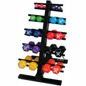 CanDo® Vinyl-Coated Cast Iron Dumbbell Set with Floor Rack, 20 Piece Set