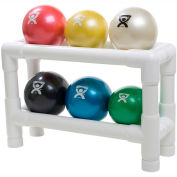 CanDo® WaTE™ Hand-held Weighted Ball with 2-Tier PVC Rack, 6 Color Set
