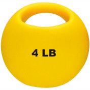 "CanDo® One-Handle Medicine Ball, 4 lb., 9"" Diameter, Yellow"