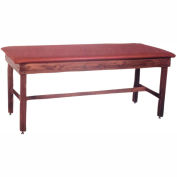 """Wooden Treatment Table with H-Brace, Blue Upholstery, Natural Frame, 72""""L x 24""""W x 30""""H"""