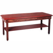"""Wooden Treatment Table with Shelf, Blue Upholstery, Natural Frame, 72""""L x 24""""W x 30""""H"""