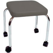"Mobile Treatment Stool, 14"" Square Top, 18"" Height, Gray"