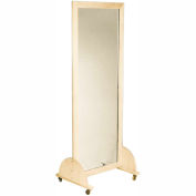 "Plate Glass Mirror with Mobile Caster Base, Vertical, 22""W x 60""H"