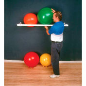 "White PVC Wall Rack For Inflatable Exercise Balls, 1 Shelf, Holds 3 Balls, 64""L x 18""W x 2""H"