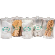 Clinton™ T-70 Labeled Clear Plastic Sundry Jars, Set of 5