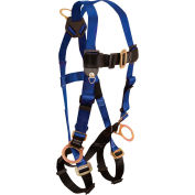 FallTech® 7017 Contractor 3-D Full Body Harness, 3 D-rings, Back and Side, Size UniFit