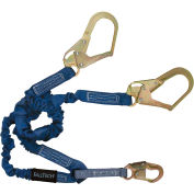 FallTech® 8240Y3 ElasTech 4-1/2' to 6' Shock Absorbing Lanyard, with 1 Snap & 2 Rebar Hooks