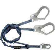 FallTech® 8259Y3 Internal 6' Shock Absorbing Lanyard, with 1 Snap Hook and 2 Rebar Hooks