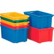 "Schaefer Stack & Nest Tote FB601 - 23""L x 15""W x 8""H - Closed Handles - Blue - Pkg Qty 10"