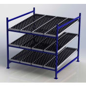 "UNEX FC99SW72723-S Flow Cell Heavy Duty Gravity Rack w/ wheelbed Starter,3 Level, 72""W x 72""D x 72""H"