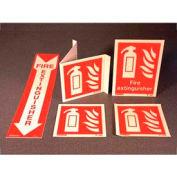 "Photoluminescent Fire Extinguisher Sign Vinyl Adhesive, 6"" x 6"""
