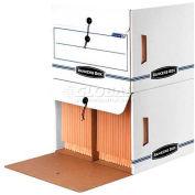 "Fellowes 00061 Side-Tab™ Drop-Front, Letter Box, 16""L x 14""W x 11-1/4""H, White/Blue - Pkg Qty 12"