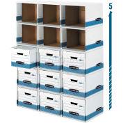 Fellowes 0162601 Bankers Box File Cube BoxShell Letter/Legal, 13-7/8x16-7/8x11-3/8 White/Blue - Pkg Qty 6