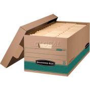 "Fellowes 1270201 Recycled Stor/File™, Legal Box, 25-3/8""L x 15-7/8""W x 10-1/4""H, Kraft/Green - Pkg Qty 12"