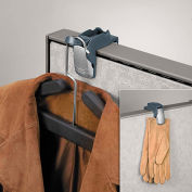 "Fellowes® Partition Coat Hook & Clip, 1-5/8""W x 3""H, Slate Gray"