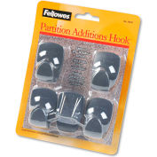 Fellowes® Plastic Partition Hooks, Graphite, 5/Pack