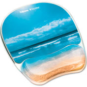 Fellowes Photo Gel Mouse Pad Wrist Rest w/Microban Protection, Sandy Beach Design - Pkg Qty 4