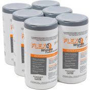 """FLEX® Wipes Disinfectant Wipes, 8"""" x 7"""" Wipe, 75 Wipes/Canister - Pkg Qty 6"""