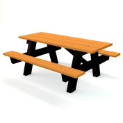 Global Industrial™ 6 ft. Recycled Plastic A-Frame Rectangular Picnic Table - Cedar
