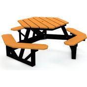 Global Industrial™ 6 ft. Recycled Plastic Hexagon Picnic Table with Black Frame - Cedar